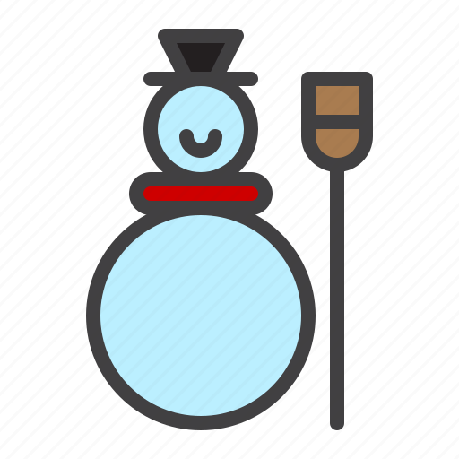 broom, cristmass, snow, snowman, winter icon