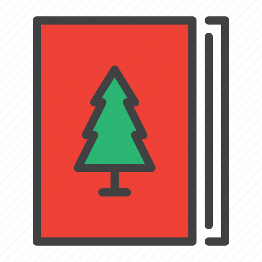 book, brochure, cristmass, textbook, tree icon