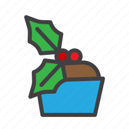cristmass, cupcake, dessert, mistletoe icon