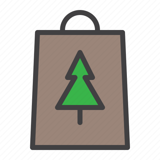 bag, cristmass, shopping, tree icon