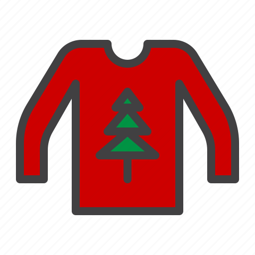 cristmass, sweater, tree, wool icon