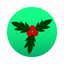 accessory, cherry, christmas, holly, mistletoe, ornament, xmas icon