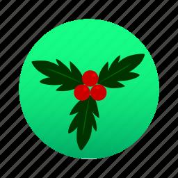 accessory, cherry, christmas, holly, mistletoe, ornament, xmas icon