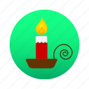 afire, candle, candlestick, chamberstick, christmas, light icon