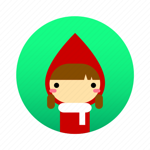 cute, fairy tale, girl, grimm, little red riding hood, student, tale icon