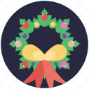 christmas wreath, decoration element, garland, holly wreath, wreath icon