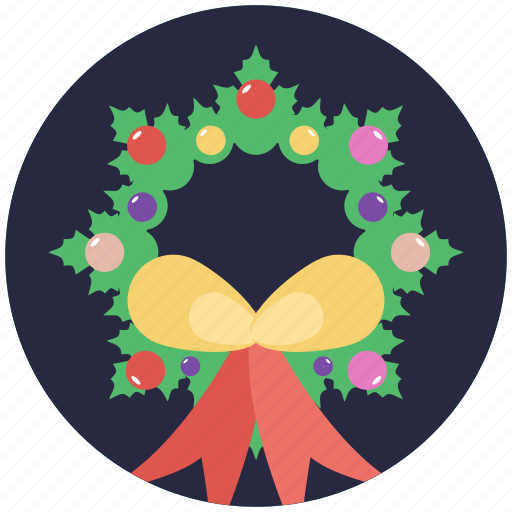 christmas wreath, decoration element, garland, holly wreath, wreath icon