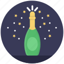 christmas celebration, new year concept, splashing champagne, wine event, wine party icon