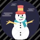 cartoon snowman, mantle of snow, snow sculpture, snowman, snowman character icon