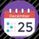 25 december, christmas day, christmas symbol, merry christmas, table calendar icon