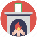 chimney, fireplace, fireplace hearth, hearth, room stove icon