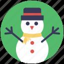 cartoon snowman, granular snow, mantle of snow, snow sculpture, snowman icon