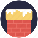 chimney top, christmas time, snowy chimney, winter night, winter season icon