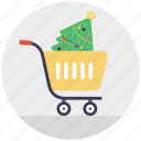 buy online, christmas celebration, christmas shopping, decorative tree, shopping trolley icon