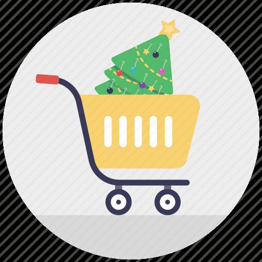 buy online, christmas celebration, christmas shopping, decorative tree, shopping trolley icon