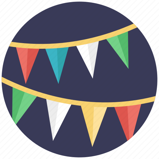 bunting flags, buntings, party decoration, party flags, pennants icon