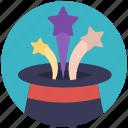 event celebration, festive celebration, magic hat, magic stars, new year element icon