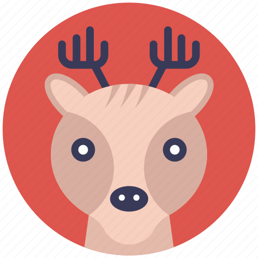 animal face, cartoon reindeer head, deer head, reindeer face, reindeer head icon