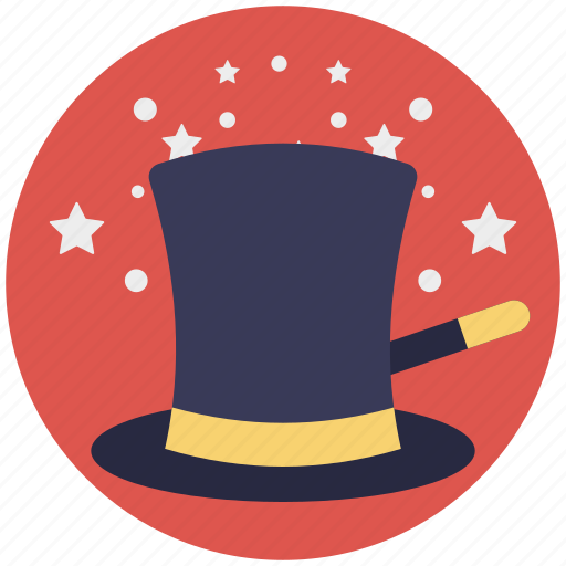 magic hat and stick, magic wand, magician performance, magician tools, wizard hat icon