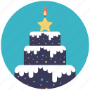 bakery food, christmas cake, christmas theme, confectionery, delicious cake icon