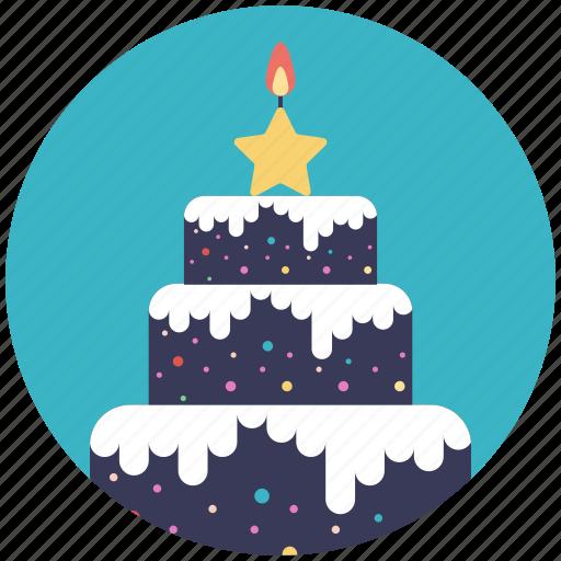 bakery food, christmas cake, christmas theme, confectionery, delicious cake icon