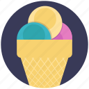 cone ice cream, flavoured ice cream, ice cream, scooped icecream, sweet dessert icon