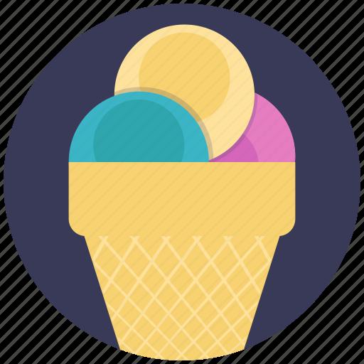 cone ice cream, flavoured ice cream, ice cream, scooped icecream, sweet dessert icon