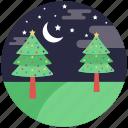 christmas event, christmas night, decorative trees, festive celebration, pine trees icon