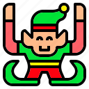 assistant, boy, christmas, elf, man, santa icon