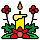 candle, christmas, flower, light, xmas icon