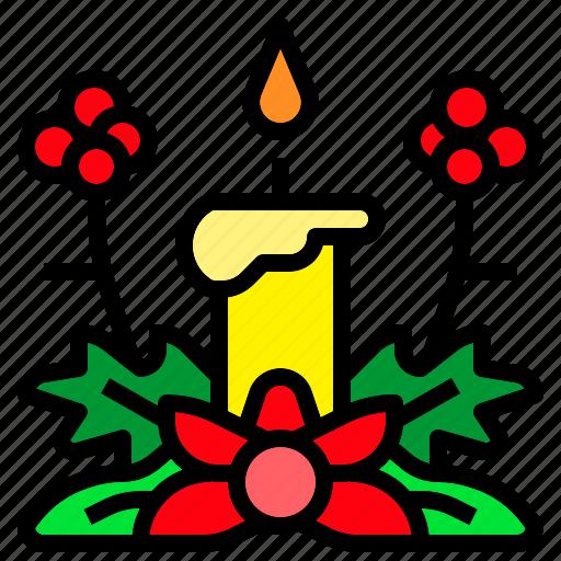 candle, christmas, flower, light, xmas icon