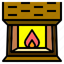chimney, fire, fireplace, interior, warm icon