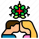 ball, christmas, couple, decoration, kiss, love, mistletoe icon