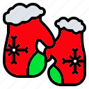 christmas, glove, holiday, snowflak, winter icon