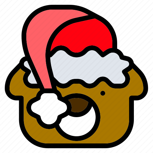 bear, christmas, doll, hat, santa, teddy, toy icon
