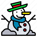 christmas, hat, scarf, snow, snowman icon
