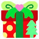 christmas, gift, present, ribbon, tree icon