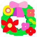 christmas, flower, ornament, wreath icon