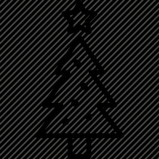 christmas, decorations, holiday, pine, star, tree, winter icon