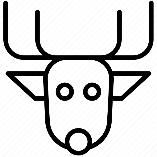 buck, christmas, deer, raindeer, rdolph, rudolf icon