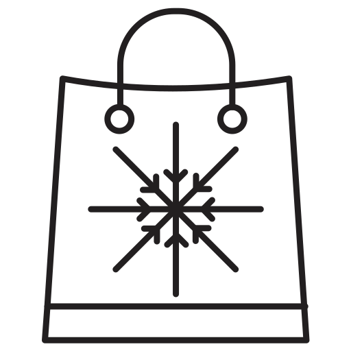 bag, christmas, flakes, sale, shopping, snow icon