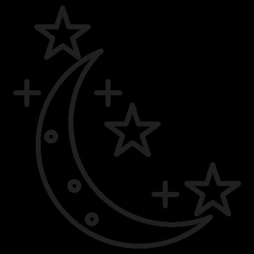 crescent, night, sky, star, stars icon