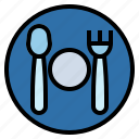 dinner, dish, fork, knife, restaurant icon