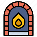 chimney, christmas, fireplace, living, room, warm icon