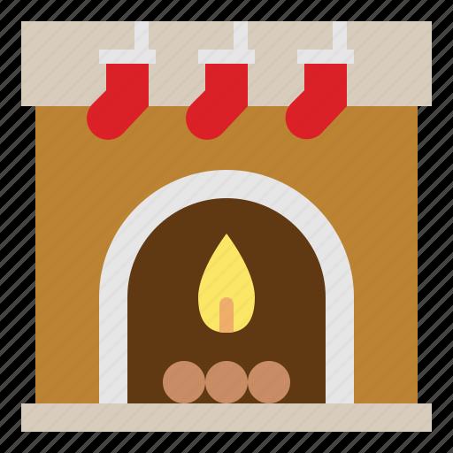 christmas, fireplace, sock, warm icon