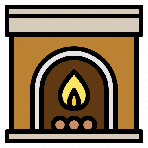 christmas, fireplace, house, warm icon