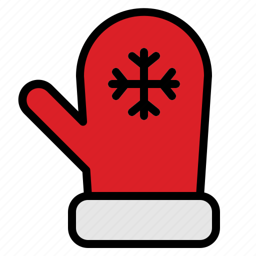 christmas, glove, mitten, warm icon