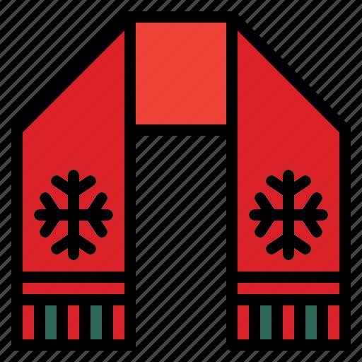 celebration, christmas, scarf, warm icon