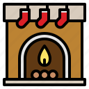 christmas, fireplace, sock, warm icon