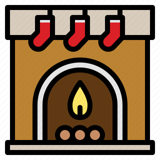 Christmas, fireplace, sock, warm icon - Download on Iconfinder